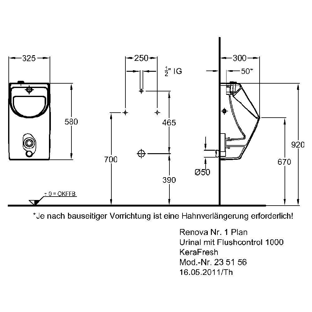 keramag renova nr 1 plan kerafresh urinal mit flushcontrol 1000 art 235156 megabad. Black Bedroom Furniture Sets. Home Design Ideas