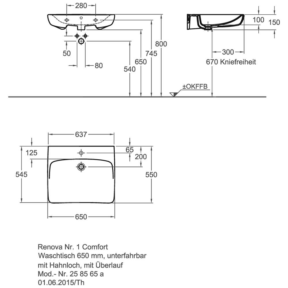 keramag renova nr 1 comfort waschtisch 65 cm unterfahrbar mit hahnloch und mit berlauf. Black Bedroom Furniture Sets. Home Design Ideas