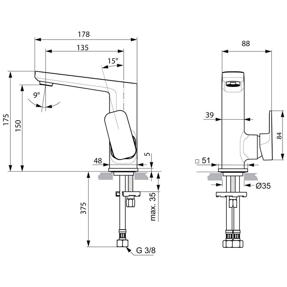 Turbo Ideal Standard Tonic II Waschtischarmatur mit hohem Auslauf, ohne  NX59