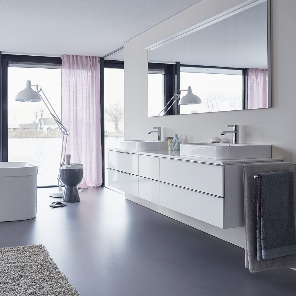 duravit happy d 2 konsole f r 2 aufsatzbecken f r nische. Black Bedroom Furniture Sets. Home Design Ideas