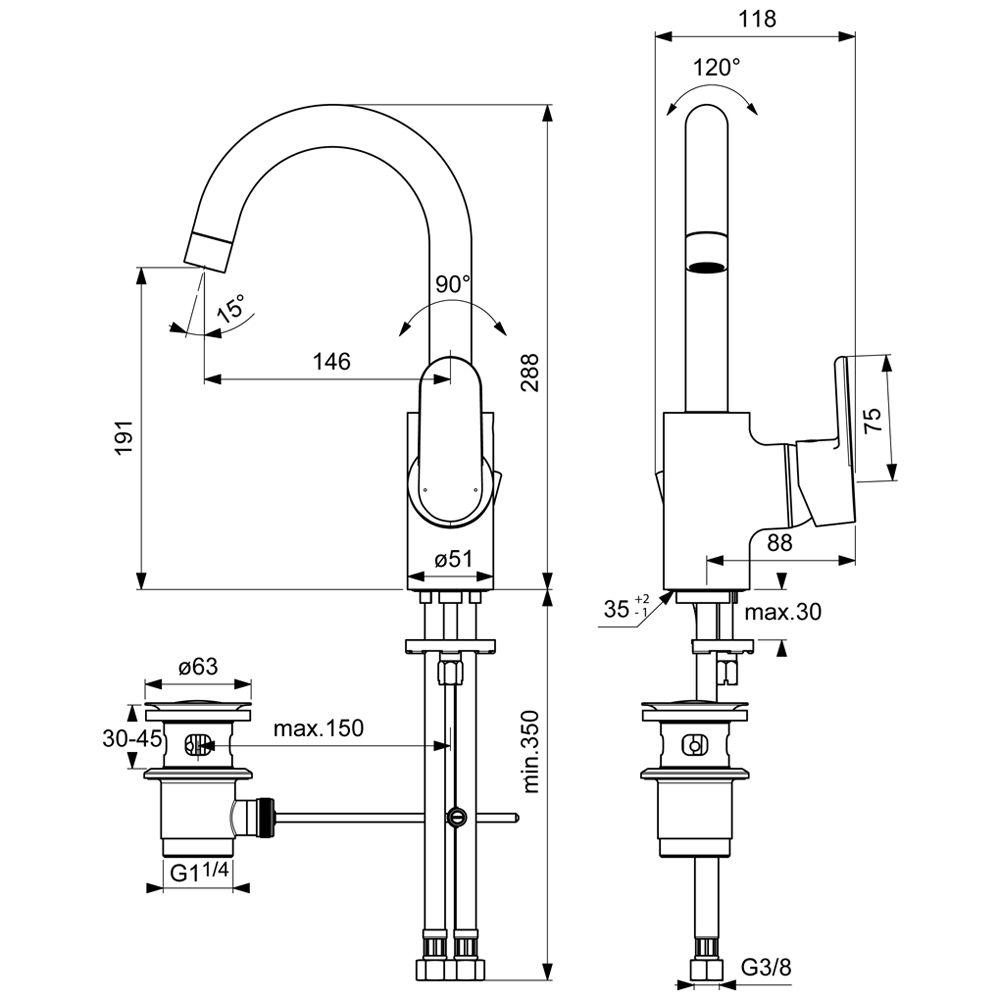 Hervorragend Ideal Standard CeraVito Einhebel-Waschtischarmatur mit hohem  FC97