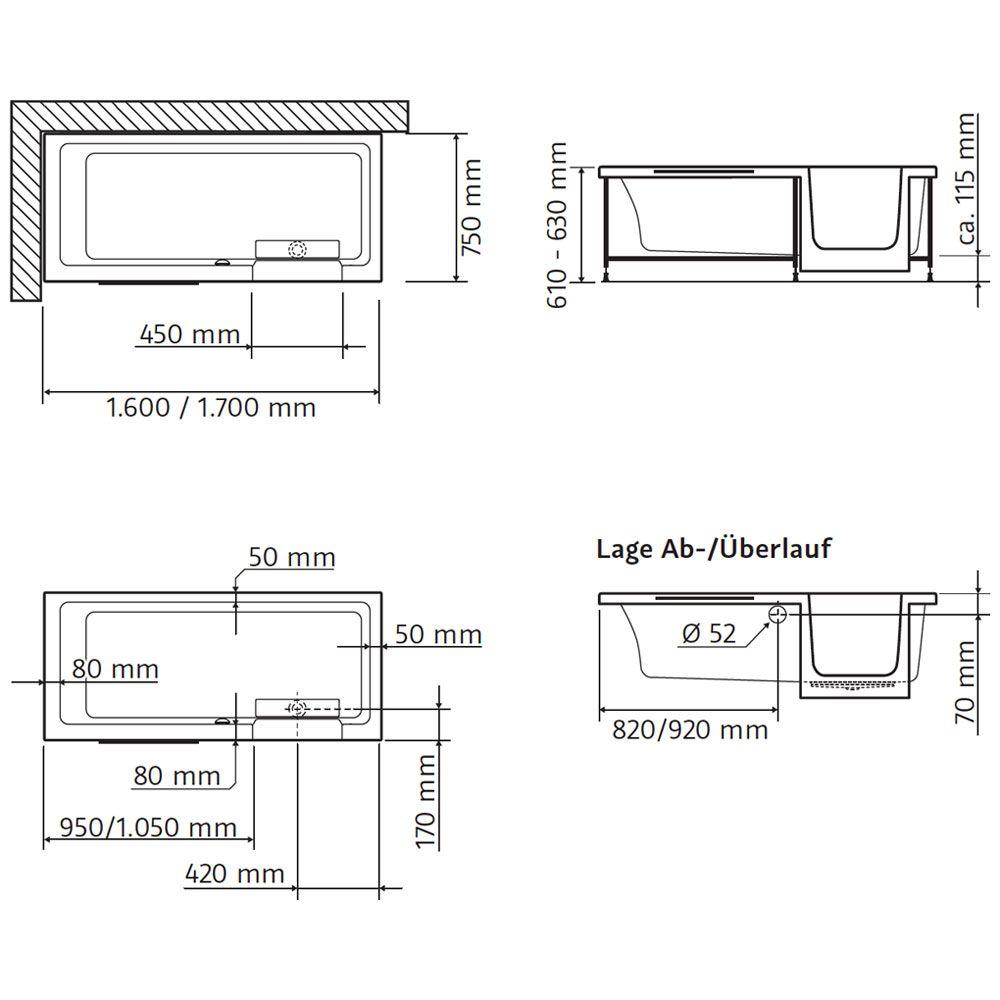 hsk dusch badewanne dobla 170 cm einstieg rechts 540171 megabad. Black Bedroom Furniture Sets. Home Design Ideas