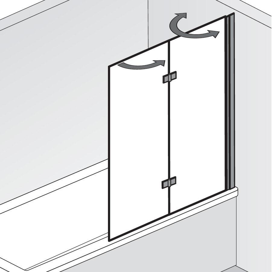 hsk favorit nova badewannenaufsatz 2 teilig anschlag rechts 166090 41 50 rechts megabad. Black Bedroom Furniture Sets. Home Design Ideas