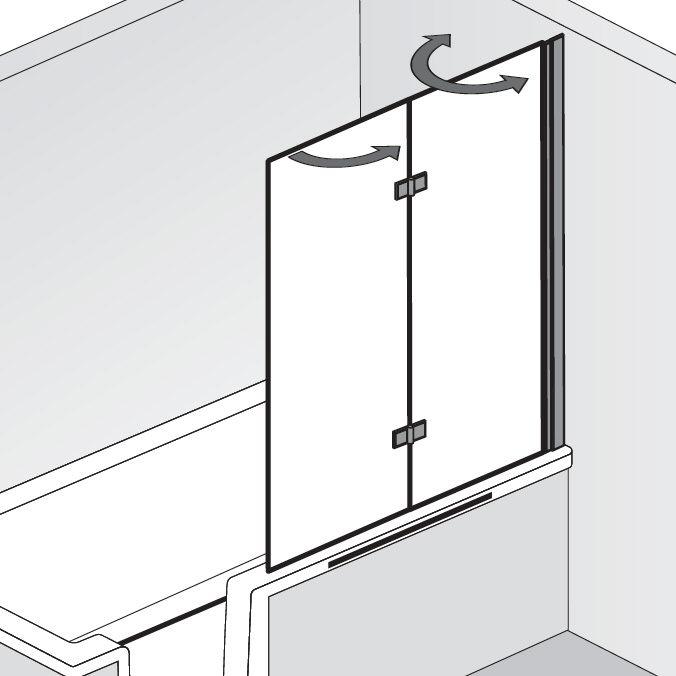 hsk favorit nova badewannenaufsatz 2 teilig anschlag rechts 166114 41 50 rechts megabad. Black Bedroom Furniture Sets. Home Design Ideas