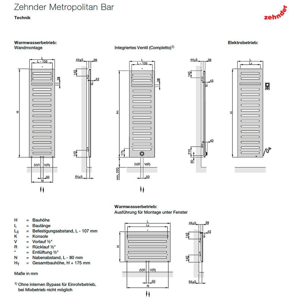 Zehnder Metropolitan Bar MEP 080 050 Badheizkörper 50 X 80,5 Cm.