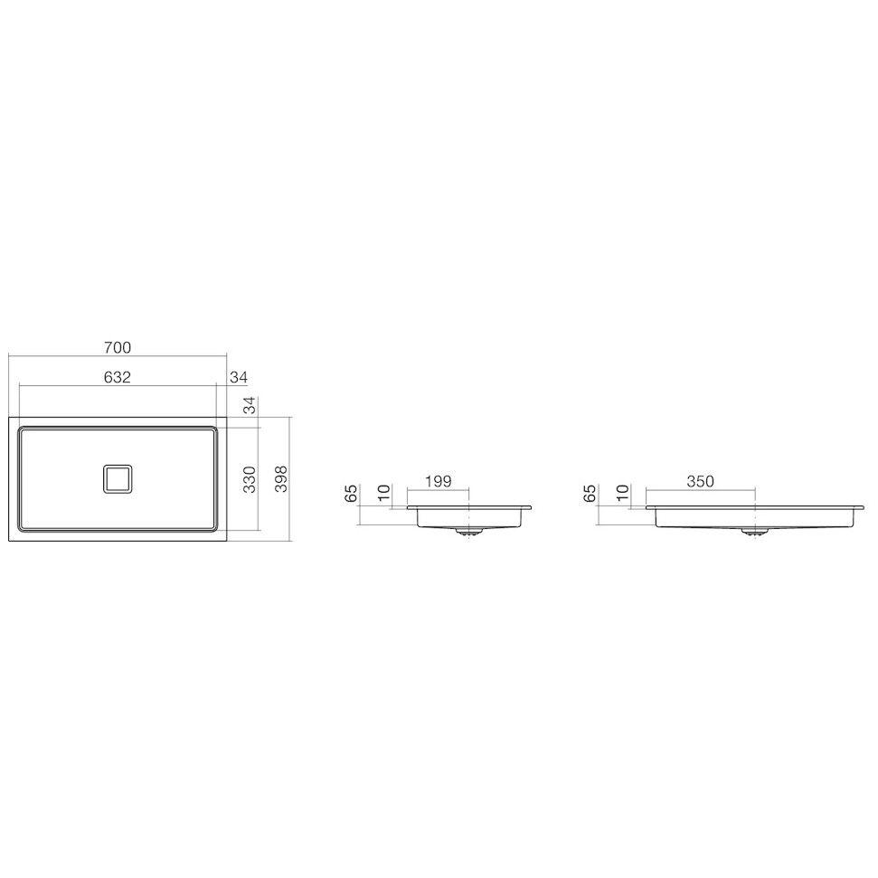 alape einbaubecken eb re700 4 rechteckig 70 x 39 8 cm 2207000000 megabad. Black Bedroom Furniture Sets. Home Design Ideas
