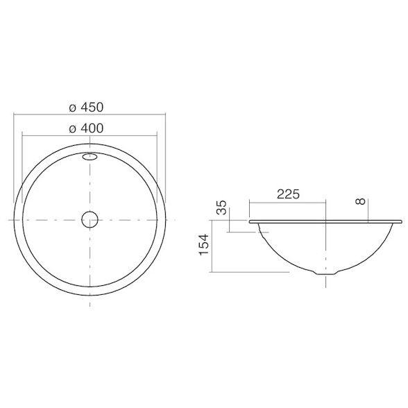 alape einbaubecken eb k450 kreisf rmig mit 45 cm 2002100000 megabad. Black Bedroom Furniture Sets. Home Design Ideas