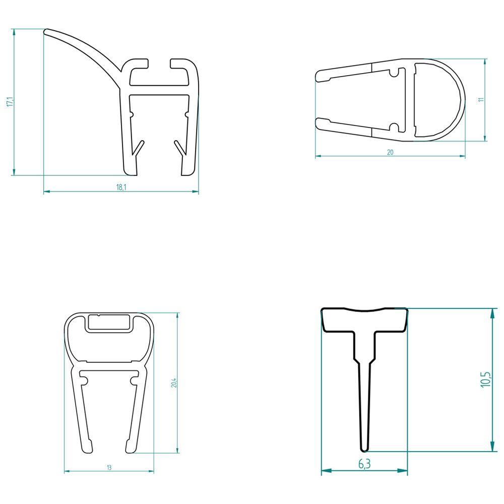 breuerdichtungssatz komplett f r espira 5 eck dusche 0868. Black Bedroom Furniture Sets. Home Design Ideas