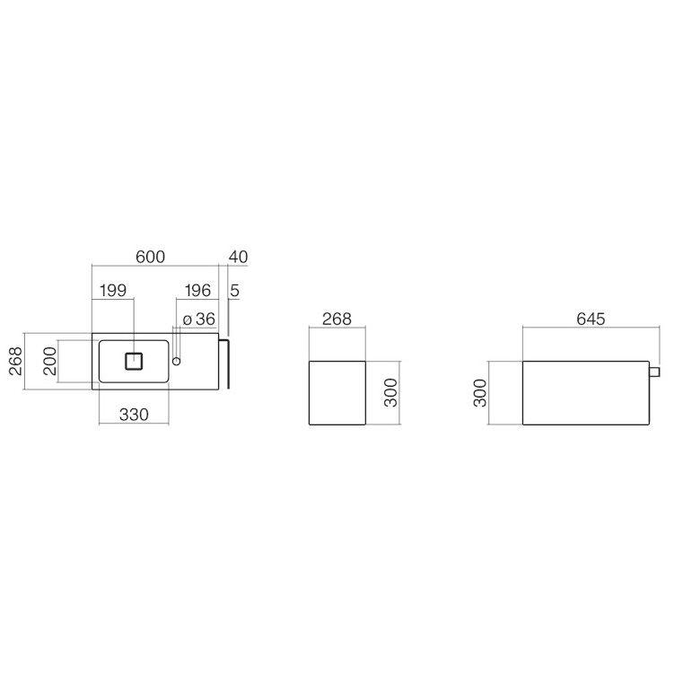 alape xplore s waschplatz wp xs1 rechteckig 64 5 x 26 8 cm beckenmulde links 5072800000 megabad. Black Bedroom Furniture Sets. Home Design Ideas