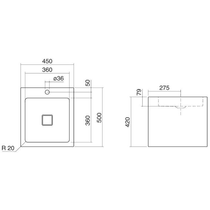 alape waschtisch wt qs450hx rechteckig 45 x 50 cm. Black Bedroom Furniture Sets. Home Design Ideas