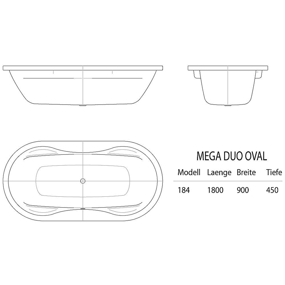 kaldewei mega duo oval 184 badewanne 180 x 90 cm avantgarde megabad. Black Bedroom Furniture Sets. Home Design Ideas