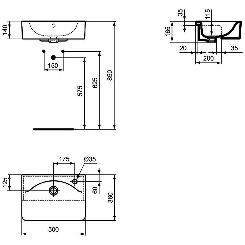 ideal standard connect halbeinbauwaschtisch cube 50 x 36. Black Bedroom Furniture Sets. Home Design Ideas