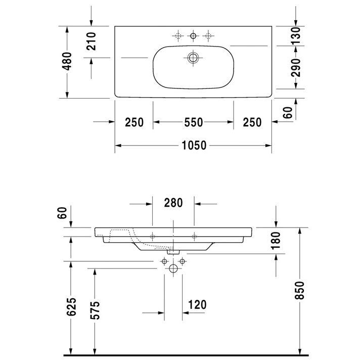 Duravit D-Code Möbelwaschtisch 105 cm 03421000602 - MEGABAD | {Doppelwaschtisch duravit 84}