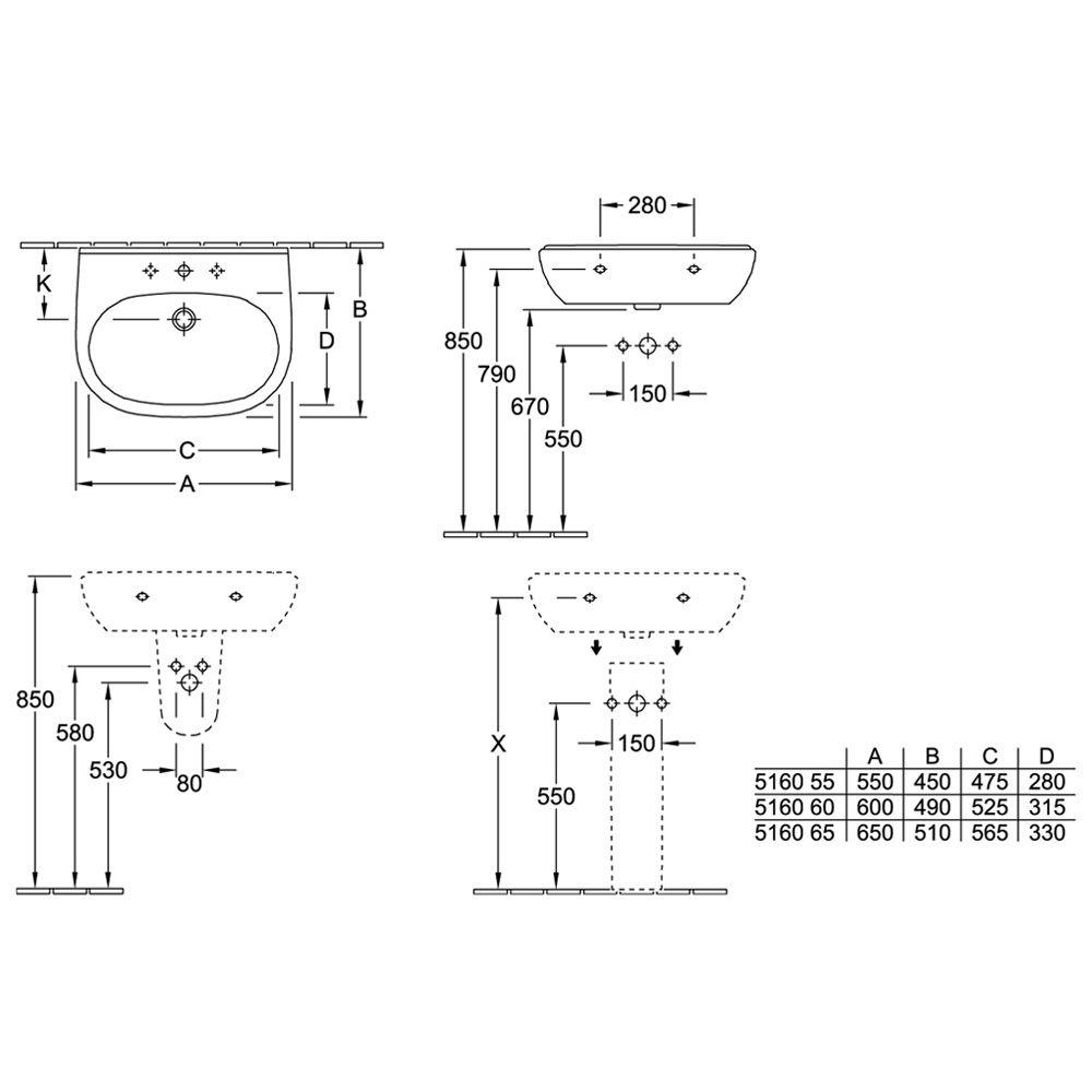 Villeroy boch o novo waschtisch art 51606001 bei for Waschtisch villeroy boch