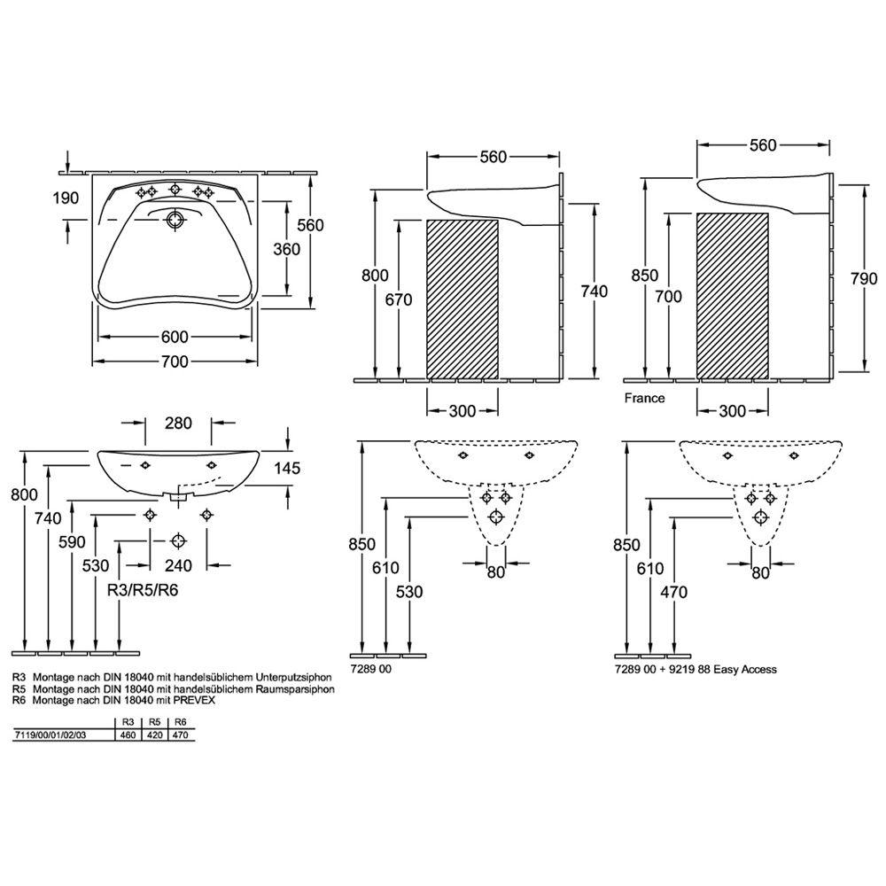 villeroy boch o novo waschtisch vita 70 0 cm art. Black Bedroom Furniture Sets. Home Design Ideas
