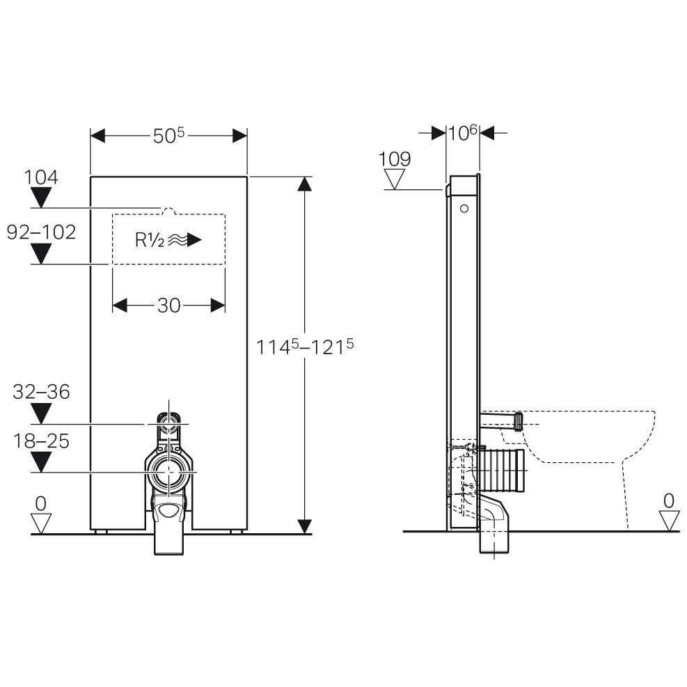 geberit monolith sanit rmodul f r stand wc 114 cm mit p anschlussbogen wasseranschluss hinten. Black Bedroom Furniture Sets. Home Design Ideas